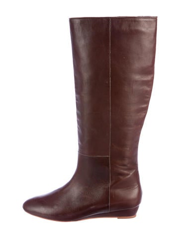 Loeffler Randall Leather Wedge Knee-High Boots None