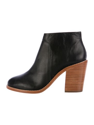 Loeffler Randall Leather Round-Toe Ankle Boots None