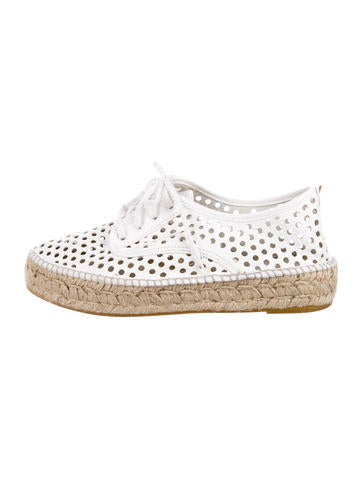 Loeffler Randall Perforated Leather Espadrille Sneakers None