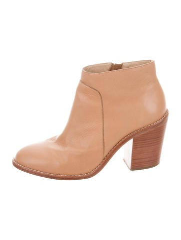 Loeffler Randall Leather Round-Toe Booties None