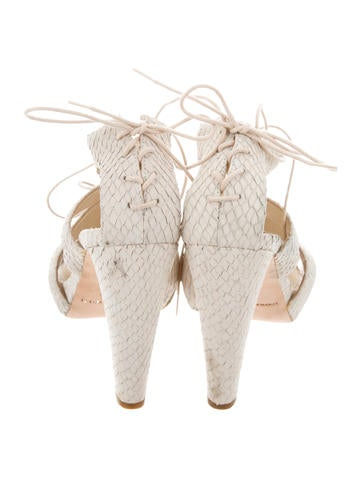 Embossed Lace-Up Sandals