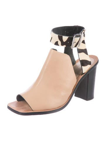 Loeffler Randall Ponyhair-Trimmed Leather Sandals outlet fast delivery discount latest collections TZW47ngRbD