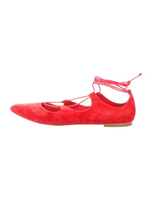 Loeffler Randall Suede Ballet Flats Red