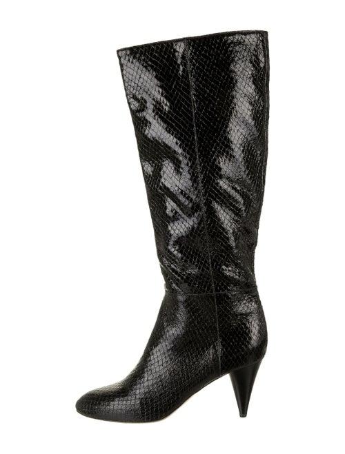 Loeffler Randall Snakeskin Boots Black