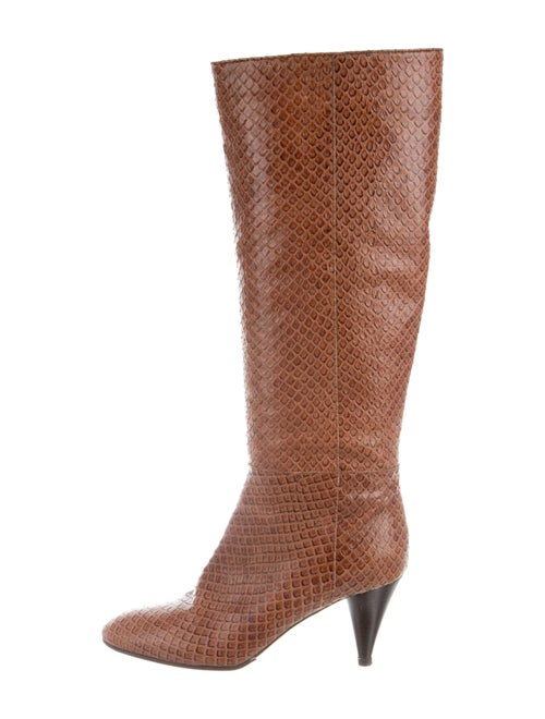 Loeffler Randall Snakeskin Animal Print Boots Brow