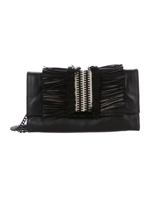 Loeffler Randall Fringe Leather Crossbody Bag Blac