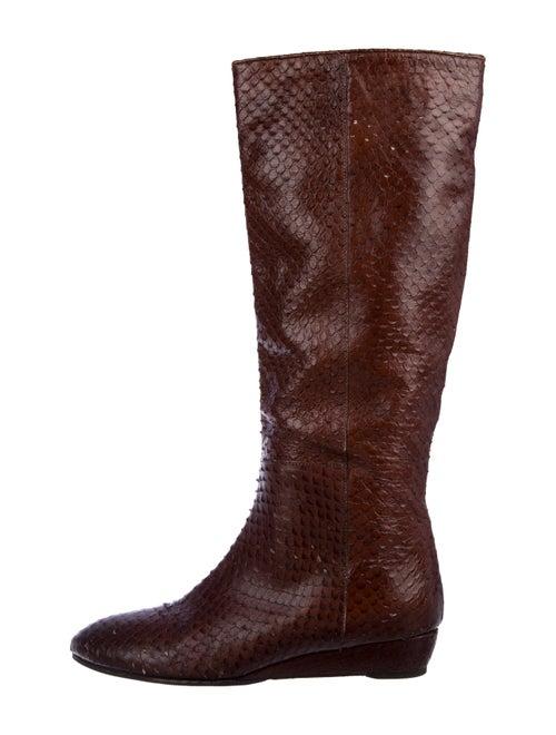 Loeffler Randall Embossed Knee-High Boots Brown