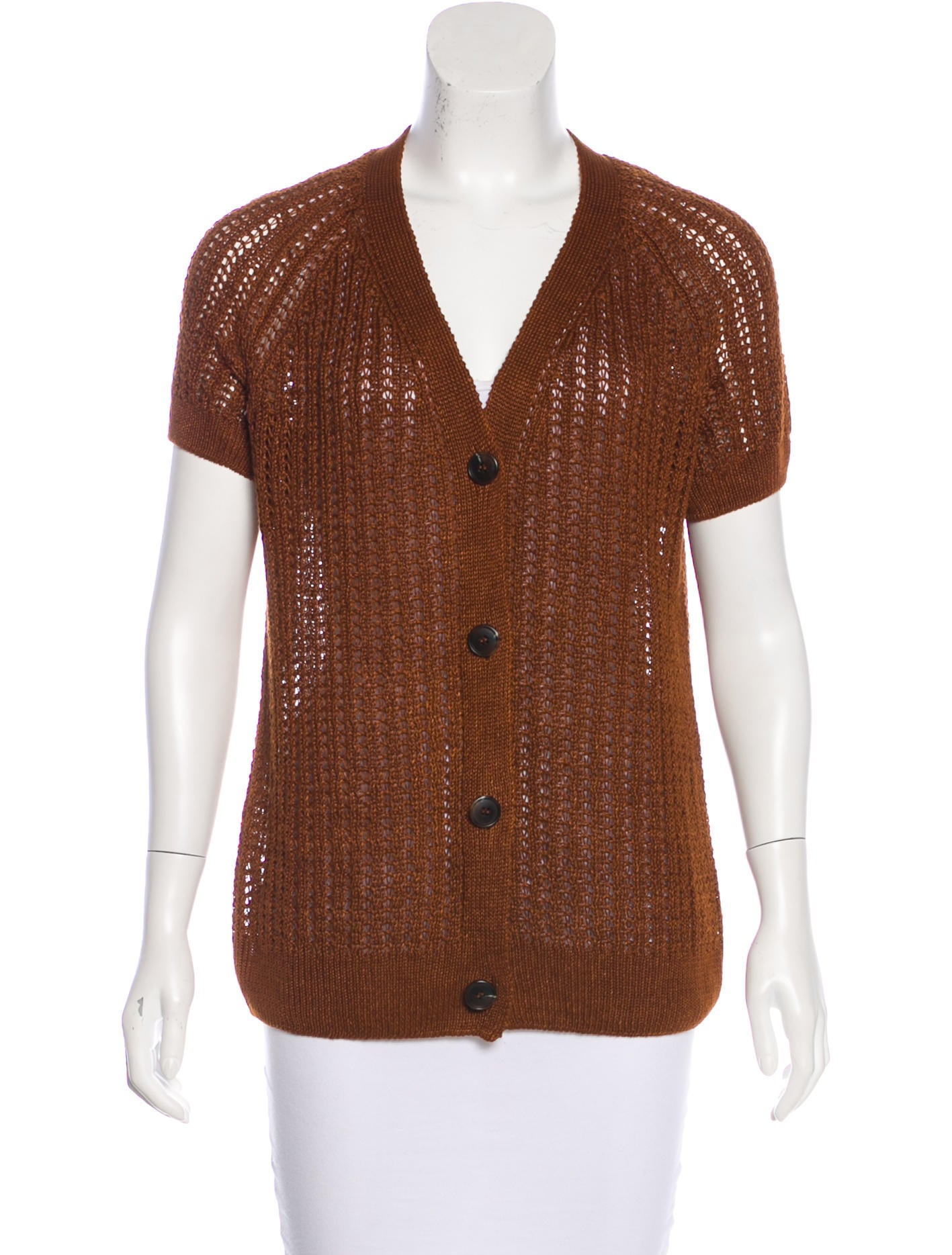 Lafayette 148 Open Knit Short Sleeve Cardigan - Clothing ...