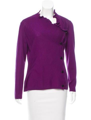 Lafayette 148 Ruffle-Trimmed Wool Cardigan None