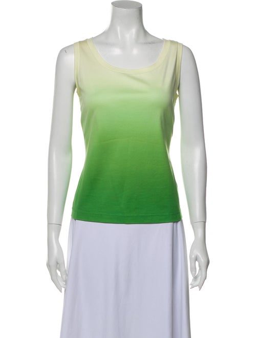Lafayette 148 Tie-Dye Print Scoop Neck Top Green