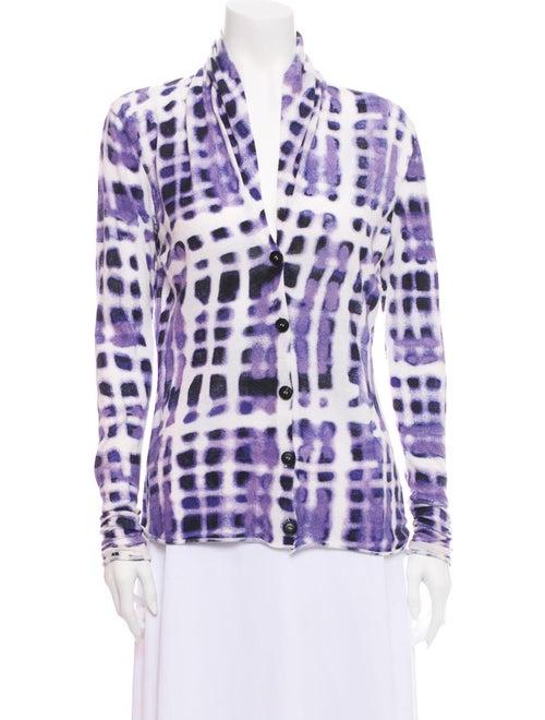Lafayette 148 Tie-Dye Print V-Neck Sweater White