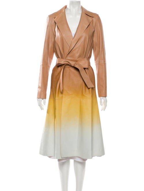 Lafayette 148 Leather Trench Coat Yellow
