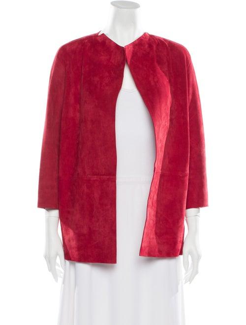 Lafayette 148 Leather Faux Fur Jacket Red
