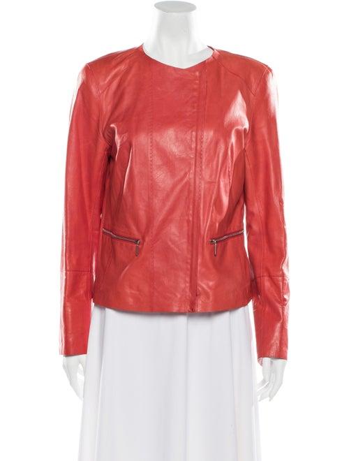 Lafayette 148 Leather Biker Jacket w/ Tags Red