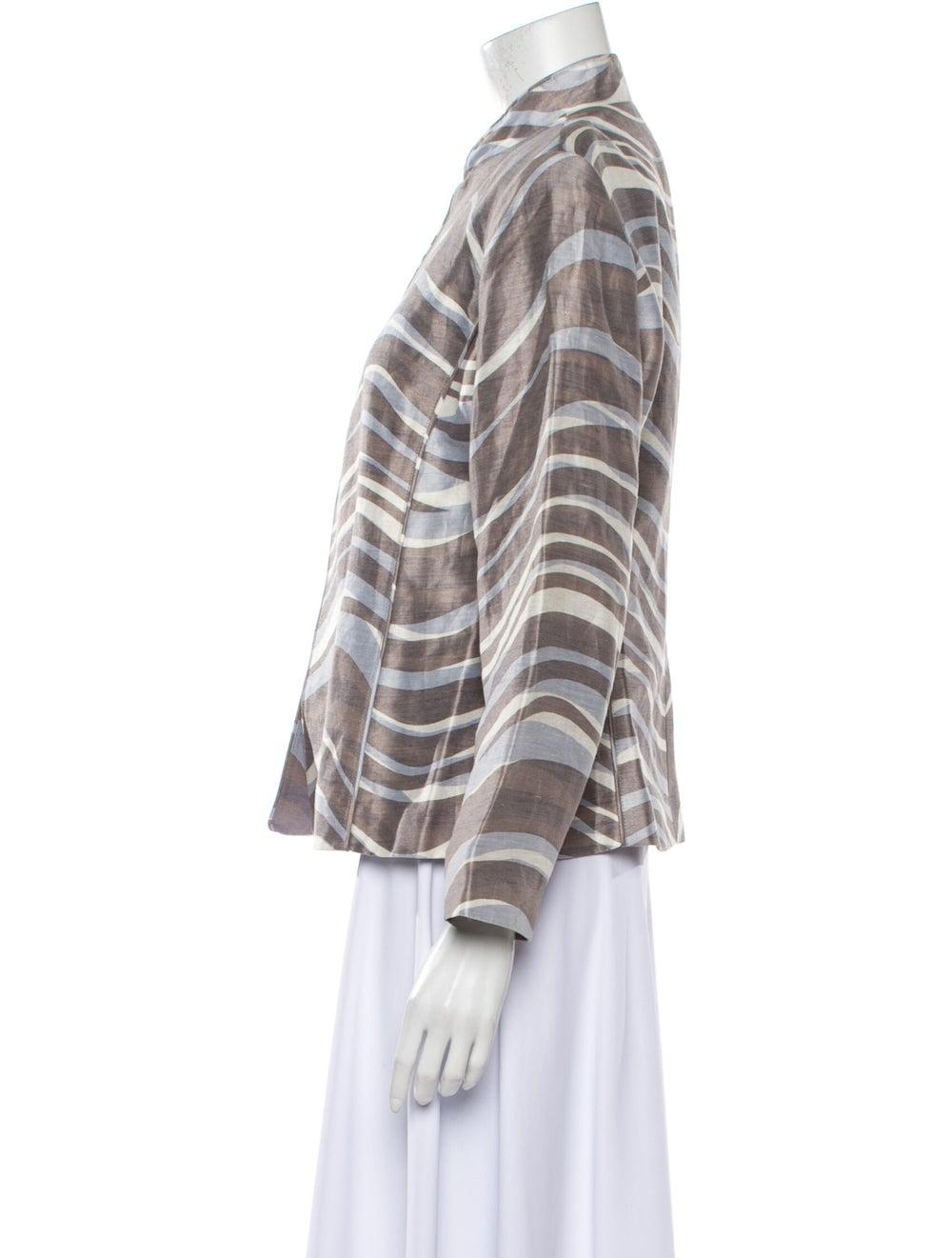 Lafayette 148 Linen Striped Jacket Grey - image 2