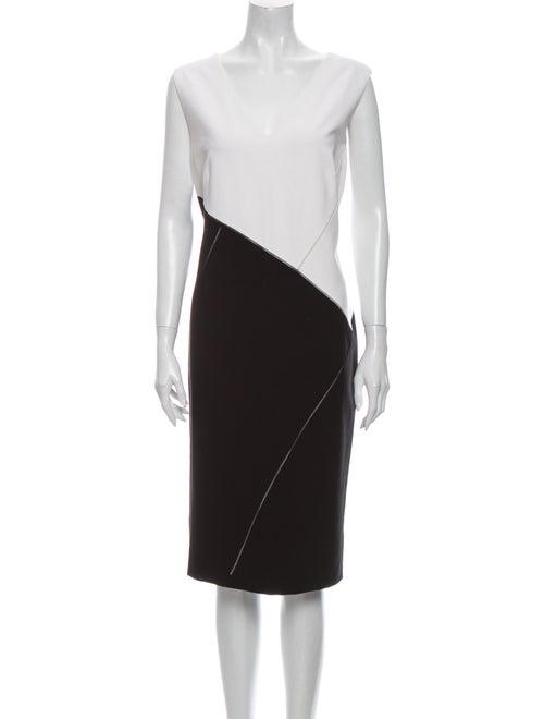 Lafayette 148 Colorblock Pattern Midi Length Dress