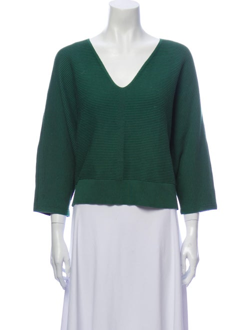 Lafayette 148 V-Neck Sweater Green