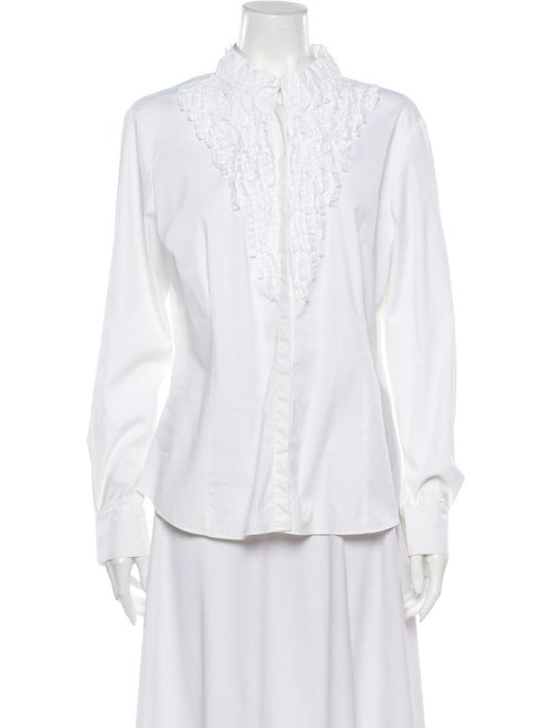 Lafayette 148 Long Sleeve Button-Up Top White