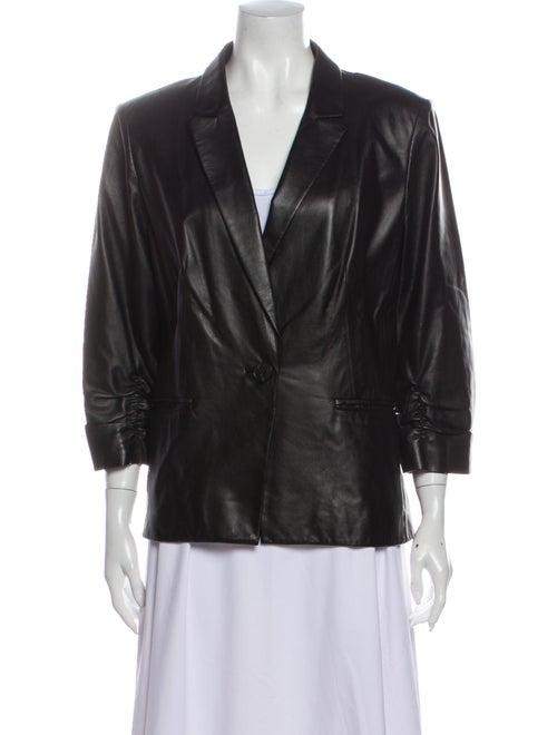 Lafayette 148 Leather Blazer Black