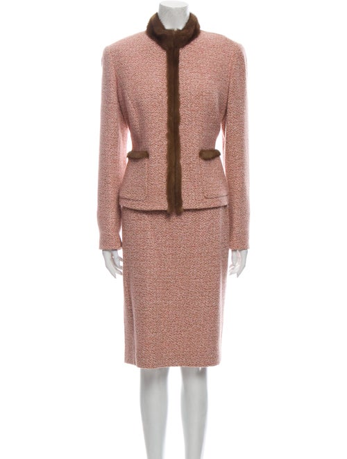 Lafayette 148 Tweed Pattern Skirt Set Pink
