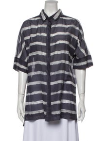 Lafayette 148 Striped Short Sleeve Button-Up Top