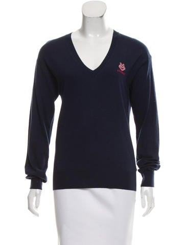 Love Moschino V-Neck Wool-Blend Sweater w/ Tags None