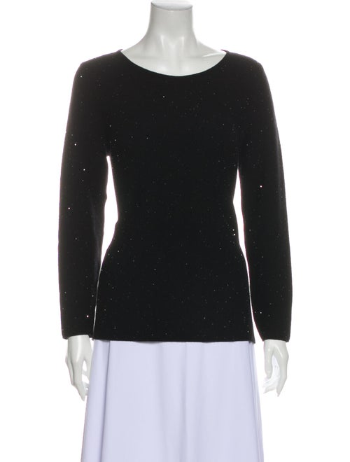 Leggiadro Cashmere Scoop Neck Sweatshirt Black