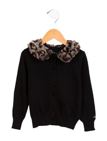Lili Gaufrette Girls' Faux Fur-Trimmed Cardigan w/ Tags None