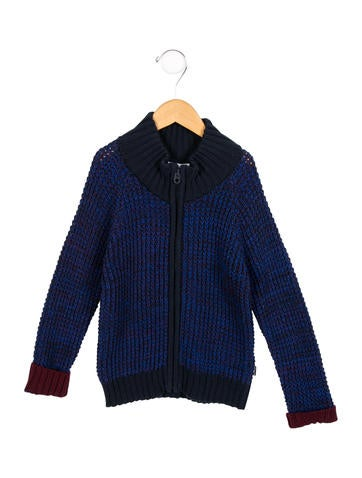 Little Marc Jacobs Boys' Two-Tone Zip-Up Sweater w/ Tags None