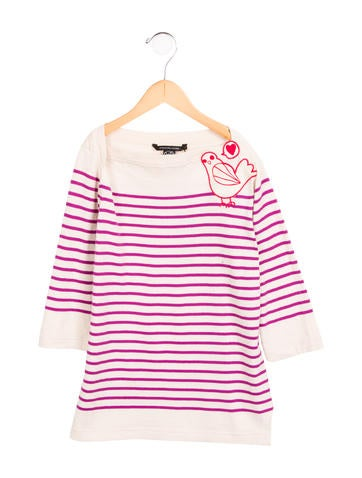Little Marc Jacobs Girls' Striped Embroidered Top w/ Tags None
