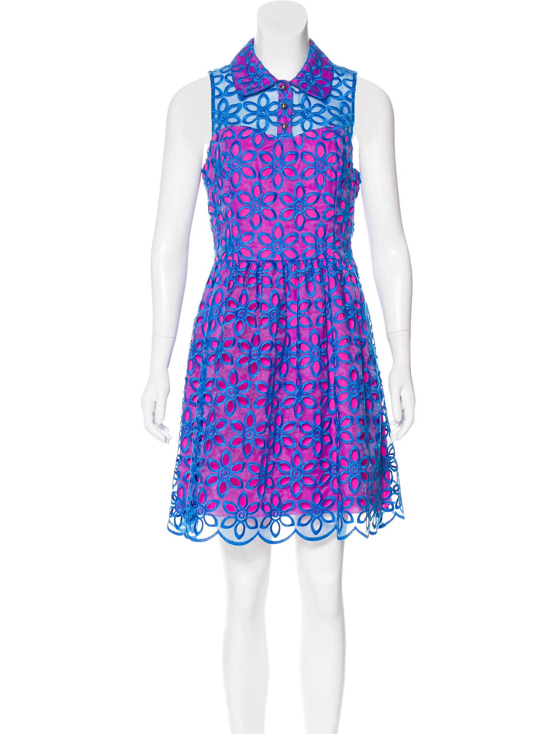 Lilly Pulitzer Floral Embroidered Mini Dress - Clothing - WLL20199 ...