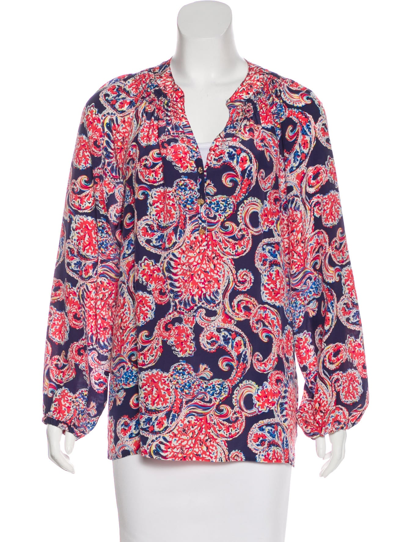 ef08a5b9679d2d Lilly Pulitzer Printed Silk Blouse - Clothing - WLL20322