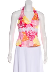 490a58a538f01 Lilly Pulitzer. Floral Print Halter Top