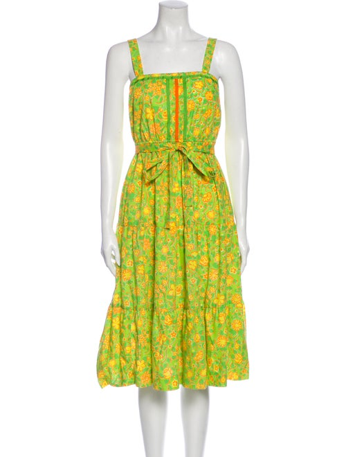 Lilly Pulitzer Floral Print Midi Length Dress Gree