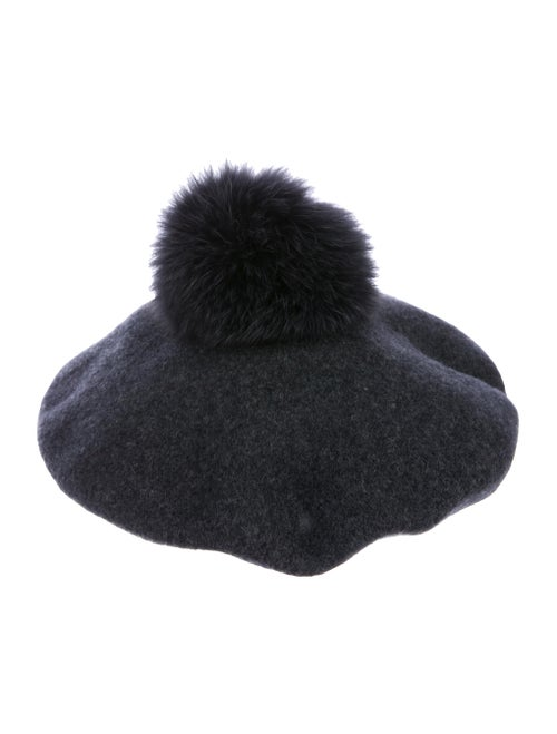 Lola Hats Fur Trim Beret Black
