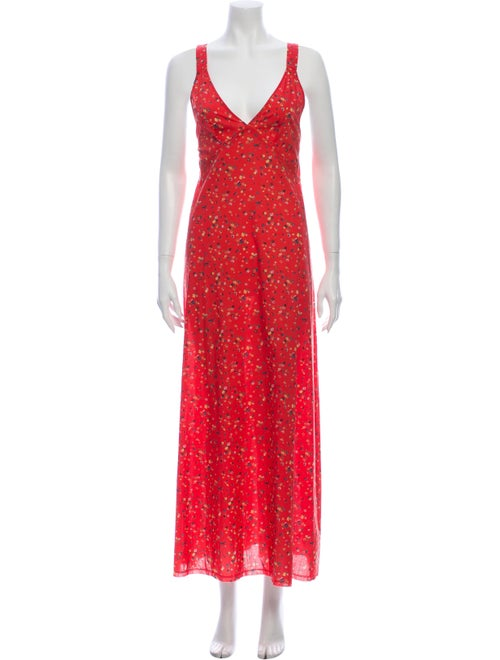 Liberty of London Floral Print Long Dress Red