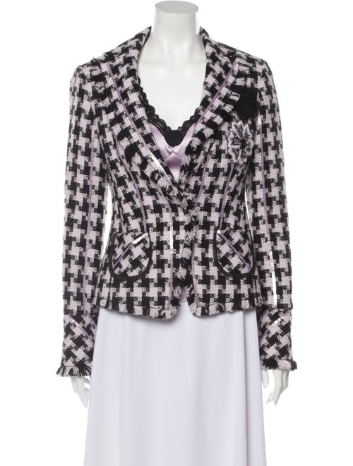 Louis Feraud Plaid Print Blazer Purple
