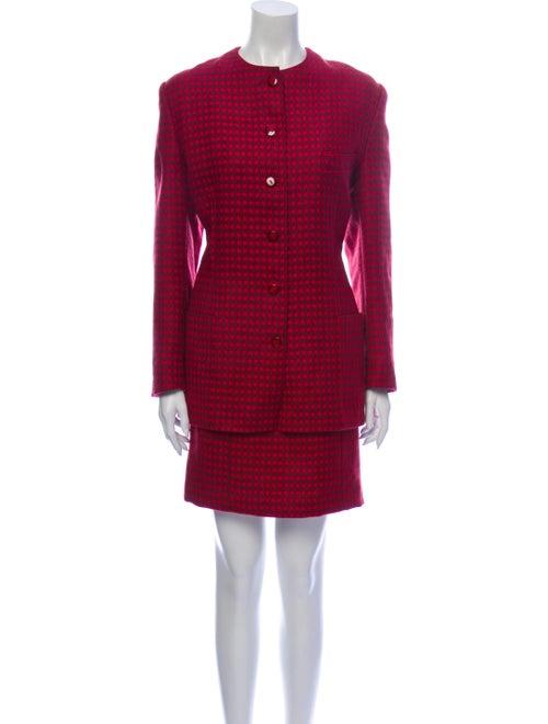 Louis Feraud Wool Plaid Print Skirt Set Wool