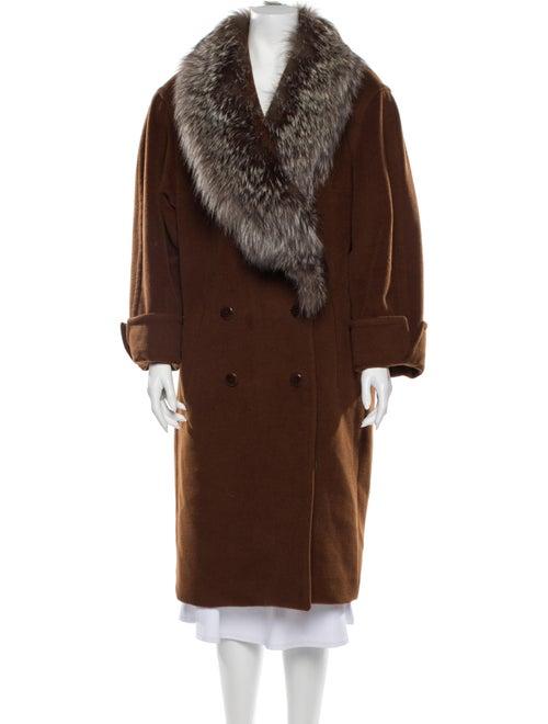 Louis Feraud Wool Faux Fur Coat Wool