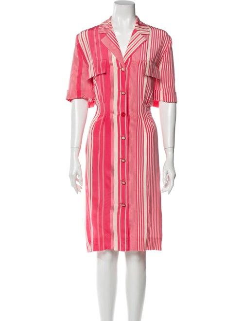 Louis Feraud Silk Knee-Length Dress Pink