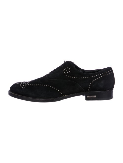 Loriblu Suede Studded Accents Oxfords Black