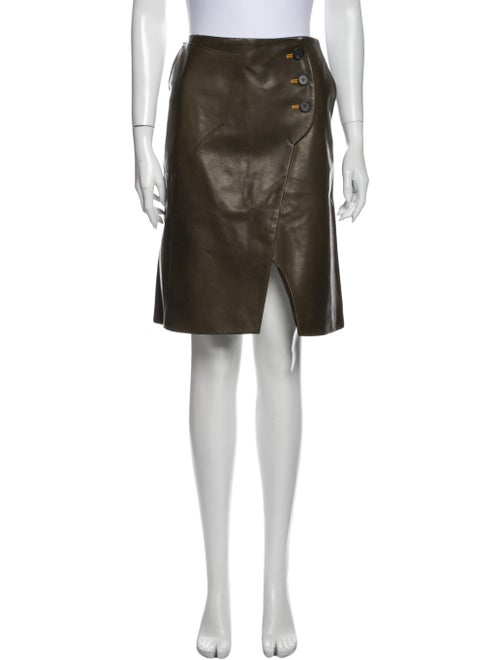 Lorod Leather Knee-Length Skirt Green