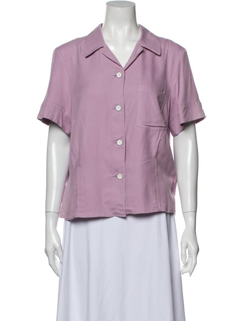 Lorod Silk Short Sleeve Button-Up Top w/ Tags Purp