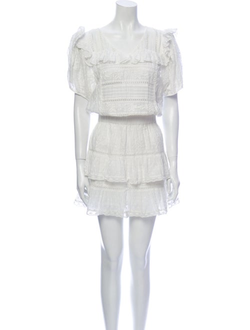 LoveShackFancy Lace Pattern Mini Dress White