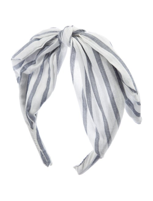 LoveShackFancy Striped Woven Headband White