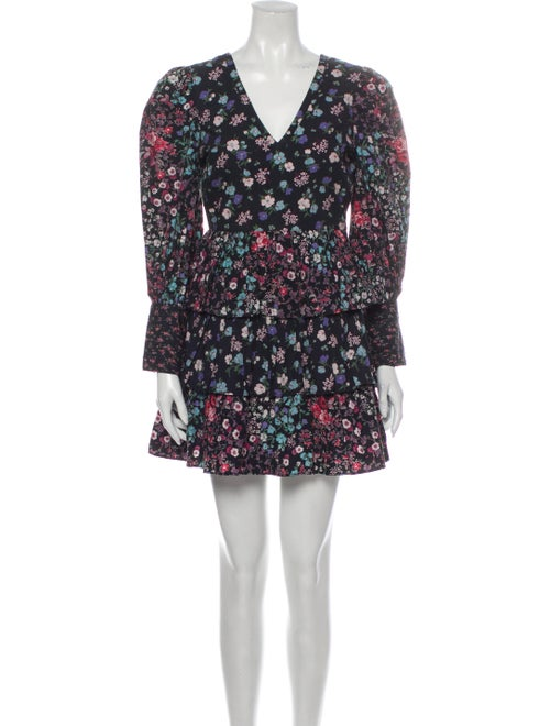 LoveShackFancy Floral Print Mini Dress Black