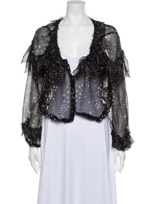 LoveShackFancy Silk Printed Blouse Black