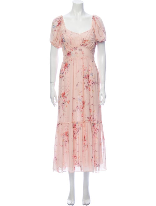 LoveShackFancy Silk Long Dress Pink