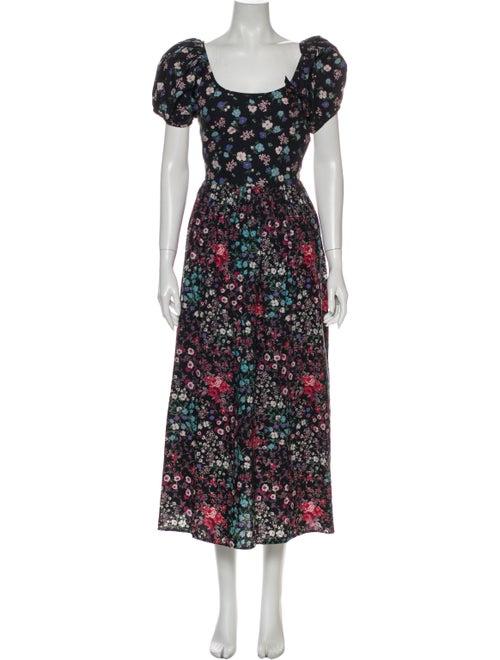 LoveShackFancy Floral Print Long Dress Blue