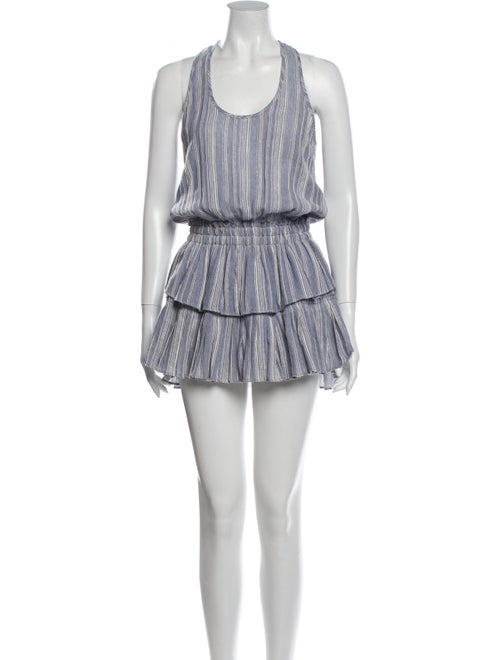 LoveShackFancy Striped Mini Dress Blue